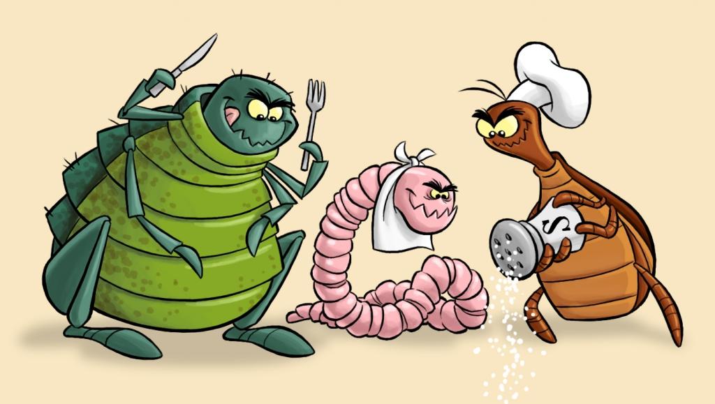 Cartoon of Pet Fleas, Worms and Ticks